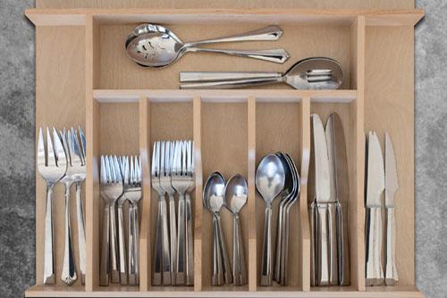 Custom Wood Cutlery Drawer Organizer - Wide